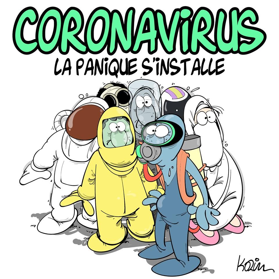 dessin d'actualité humoristique de Karim sur l'épidémie de coronavirus Covid-19 et la panique qui s'installe dans la population