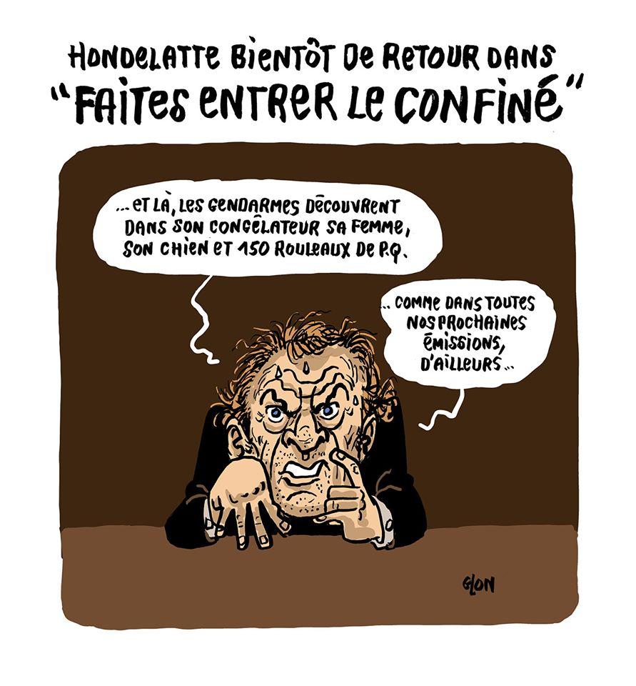 dessin humoristique de Glon sur l'épidémie de Covid-19 et l'émission Faites entrer l'accusé présenté par Christophe Hondelatte