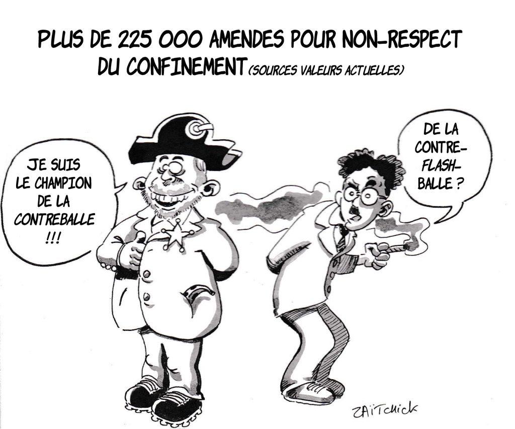 dessin de Zaïtchick sur l'épidémie de Covid-19 et les amendes pour non-respect du confinement