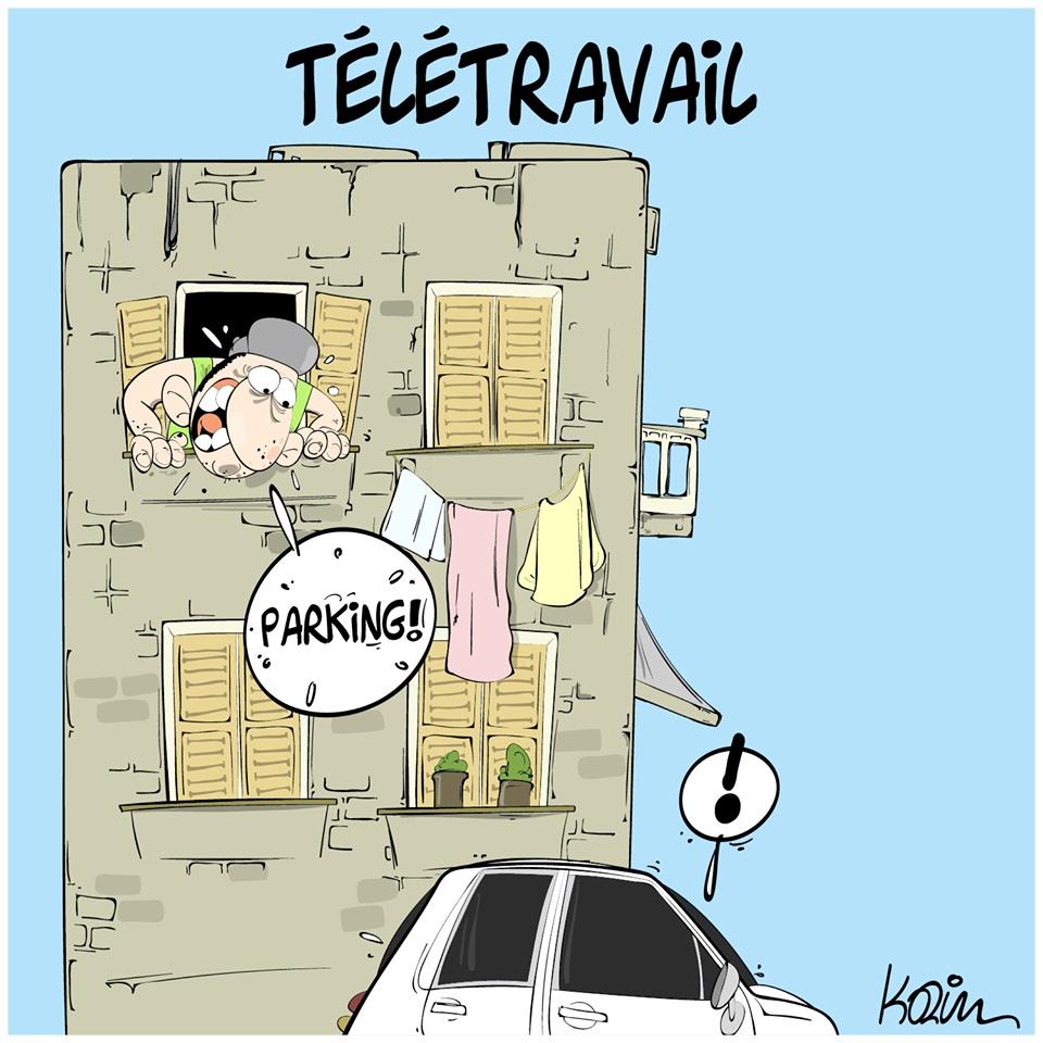 dessin d'actualité humoristique de Karim sur l'épidémie de Covid-19 et le télétravail