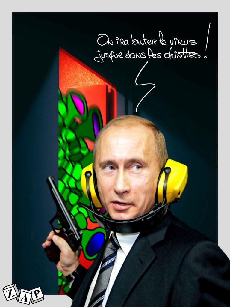 dessin d'actualité de Zap sur l'épidémie du Covid-19 et la gestion de la crise en Russie par Vladimir Poutine