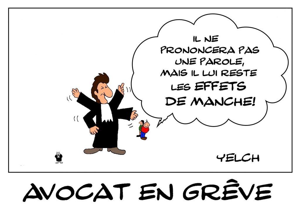 dessin de Yelch dessin de Yelch sur la grève des avocats contre la réforme des retraites