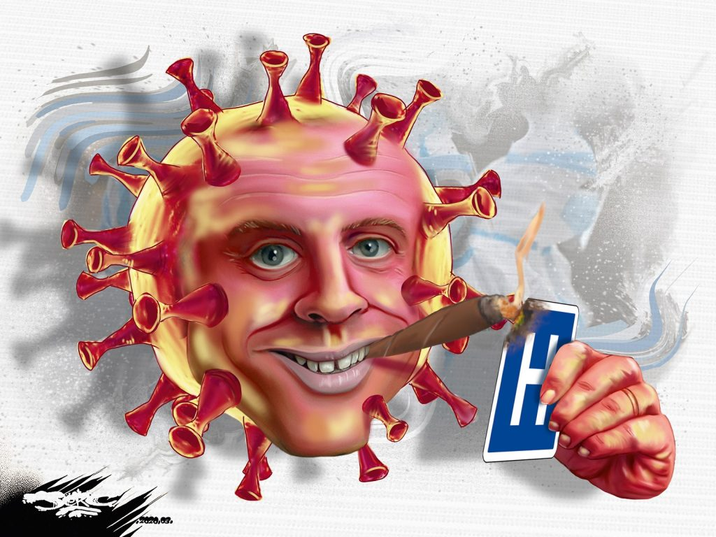 dessin d'actualité humoristique de Jerc sur le coronavirus, Emmanuel Macron et la casse du système de santé français