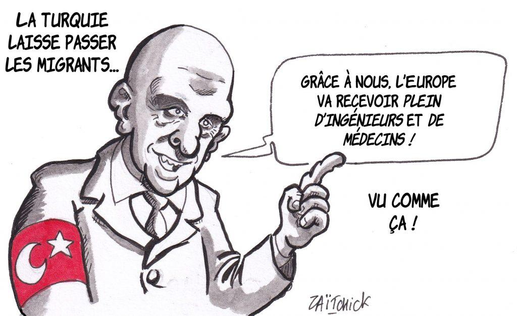 dessin humoristique de Zaïtchick sur l'ouverture de la Turquie au passage des migrants et le chantage migratoire d'Erdogan