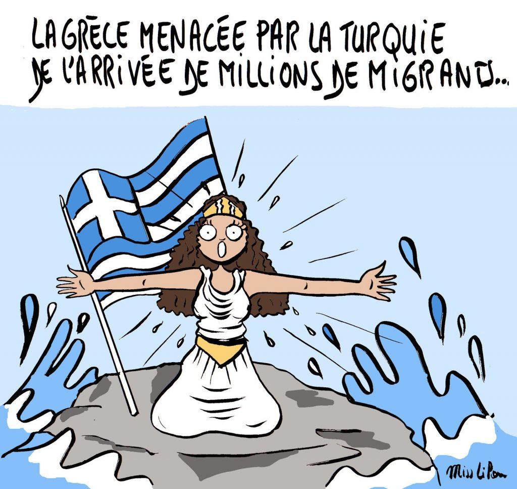 dessin de Miss Lilou sur l'ouverture de la Turquie au passage des migrants et le chantage migratoire d'Erdogan