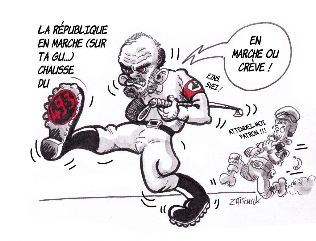 dessin de Zaïtchick sur Édouard Philippe en marche forcée et Christophe Castaner qui court derrière après et l'usage du 49.3 par le gouvernement pour faire passer la réforme des retraites