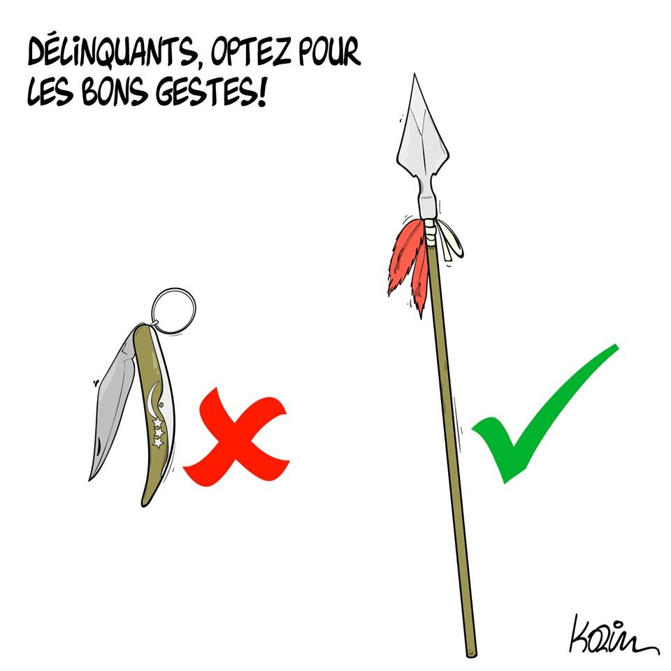dessin d'actualité humoristique de Karim sur l'épidémie de Covid-19, la délinquance et la poursuite des agressions au couteau