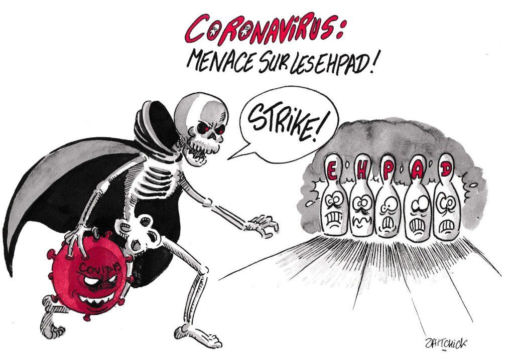 dessin de Zaïtchick sur l'épidémie de Covid-19 et la menace sur les Ehpad