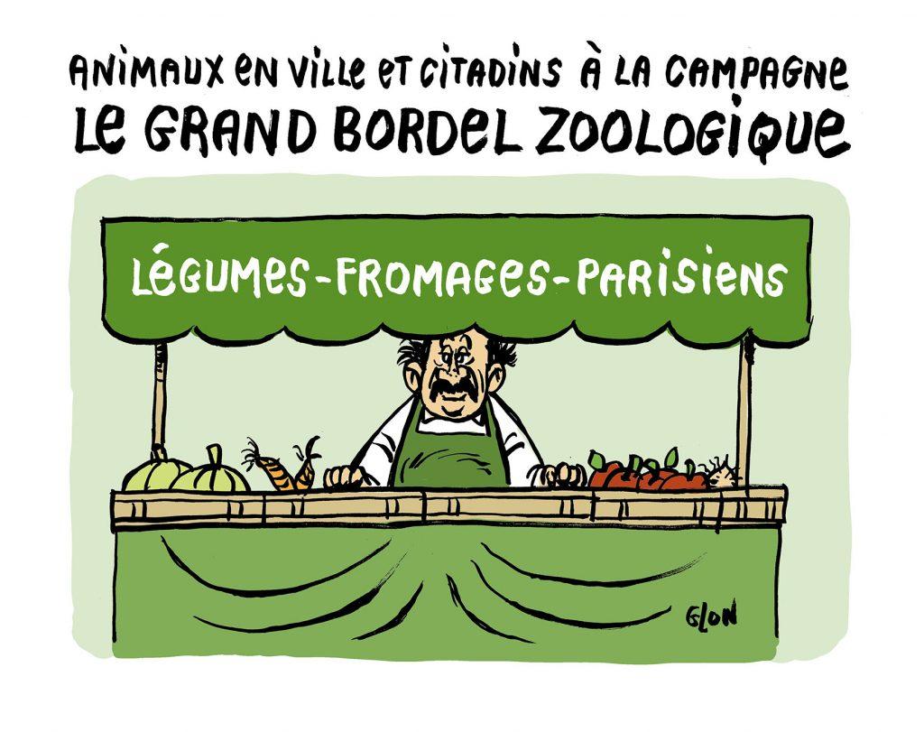 dessin humoristique de Glon sur l'épidémie de Covid-19 et la fuite des citadins à la campagne