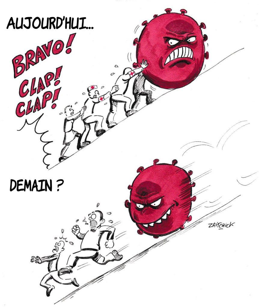 dessin de Zaïtchick sur l'épidémie de Covid-19 et la lutte contre le coronavirus