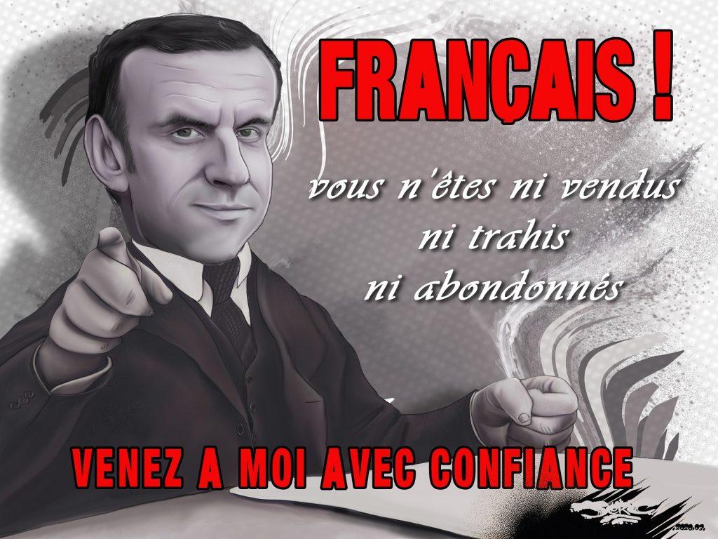 dessin d'actualité humoristique de Jerc sur l'épidémie de Covid-19 et la gestion de la crise par Emmanuel Macron