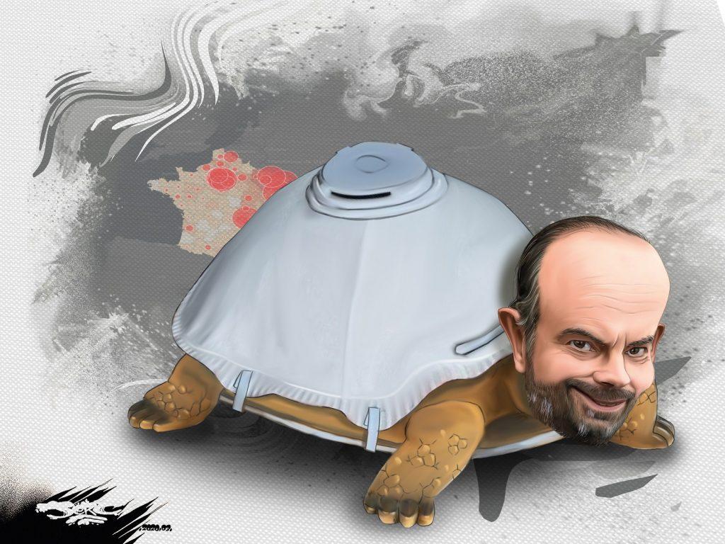 dessin d'actualité humoristique de Jerc sur l'épidémie de Covid-19 et la gestion de la crise par Édouard Philippe