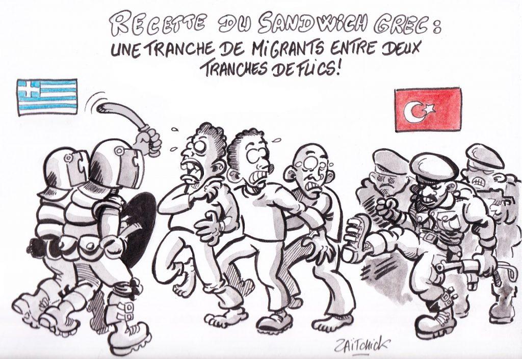 dessin de Zaïtchick sur les migrants pris en sandwich entre les policiers grecs et les policiers turcs