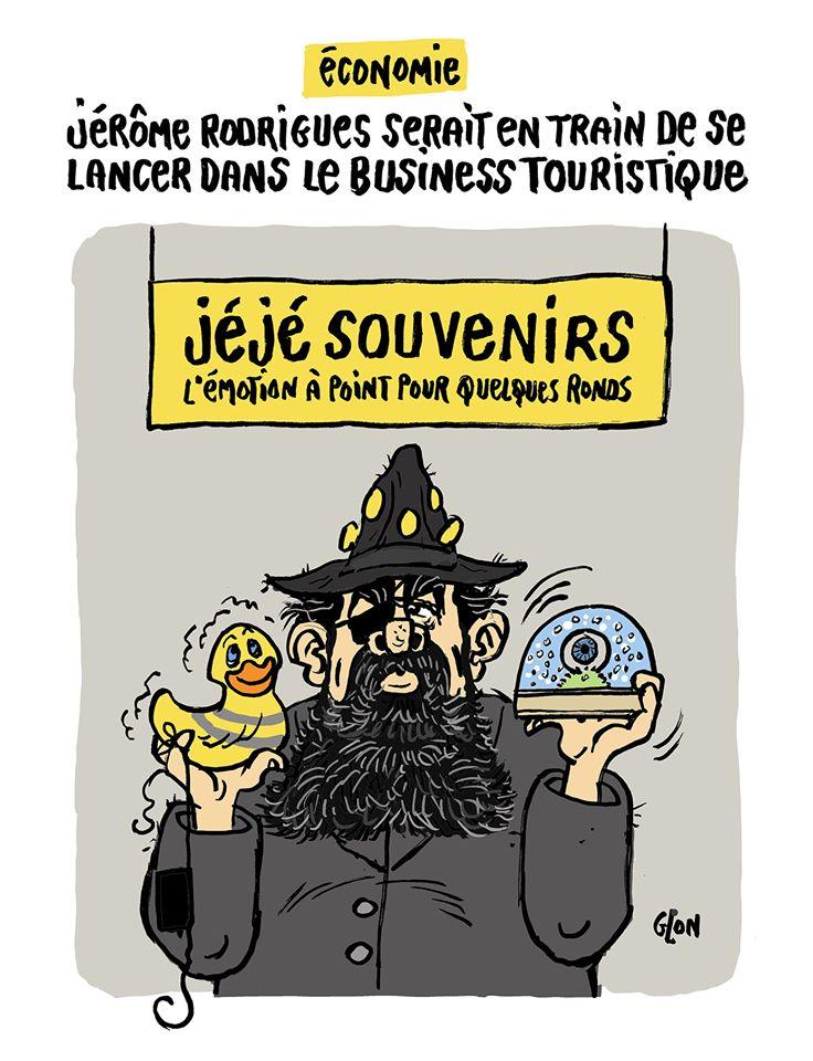 dessin humoristique de Glon sur la reconversion de Jérôme Rodrigues, ancien gilet jaune