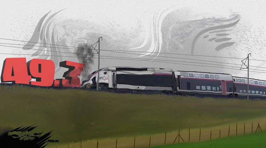dessin d'actualité humoristique de Jerc sur l'usage du 49.3 par le gouvernement Philippe et le déraillement d'un TGV près de Strasbourg