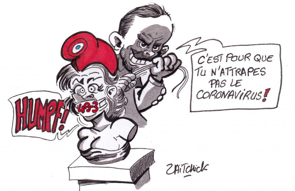 dessin humoristique de Zaïtchick sur l'utilisation de l'article 49.3 pendant l'épidémie de coronavirus Covid-19