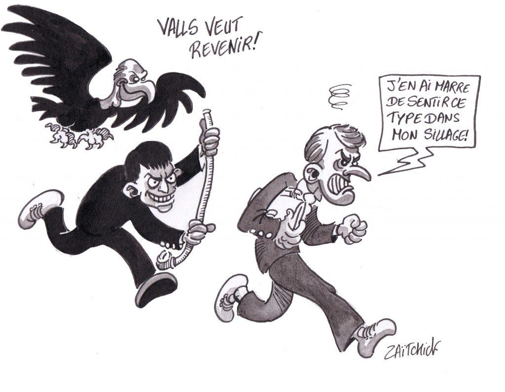 dessin humoristique de Zaïtchick sur la volonté de retour de Manuel Valls et Emmanuel Macron