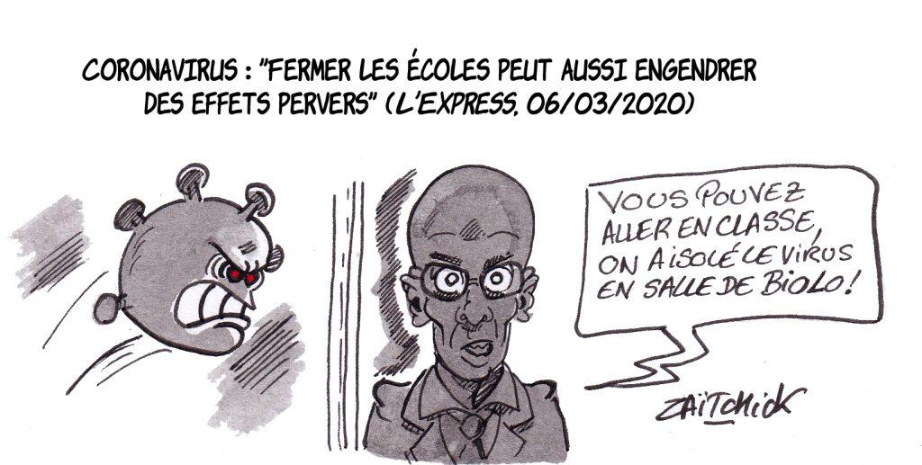 dessin de Zaïtchick sur Jean-Michel Blanquer qui rassure les élèves sur l'épidémie de coronavirus