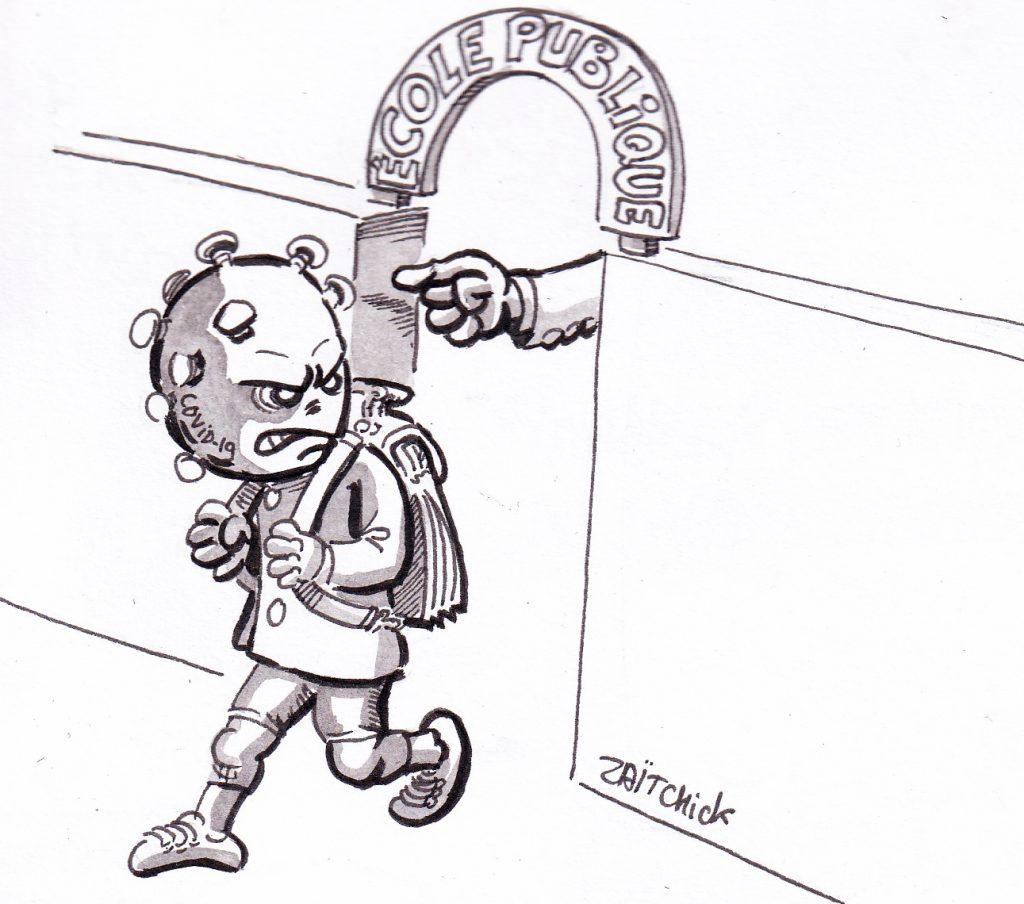 dessin de Zaïtchick sur l'épidémie de coronavirus et la fermeture des écoles
