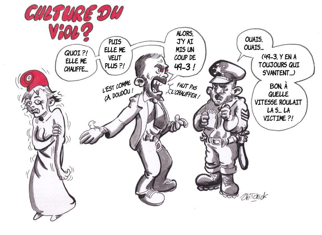 dessin de Zaïtchick sur la violence du 49-3 pour faire passer la réforme des retraites