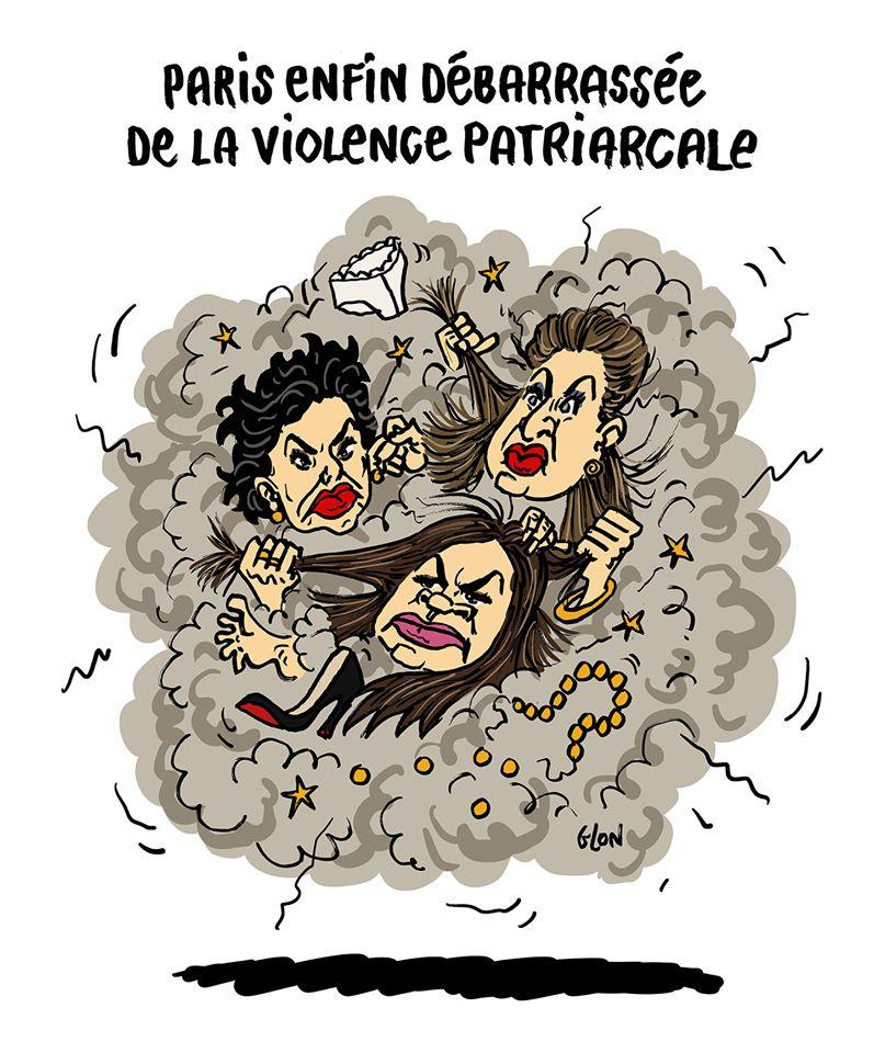dessin humoristique de Glon sur les violences patriarcales et les violences politiques entre les candidates à la Mairie de Paris