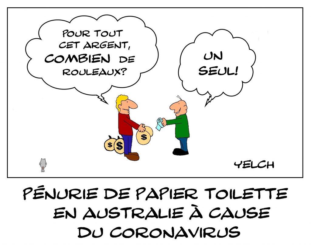 dessin de Yelch sur la pénurie de papier toilette en Australie à cause du coronavirus