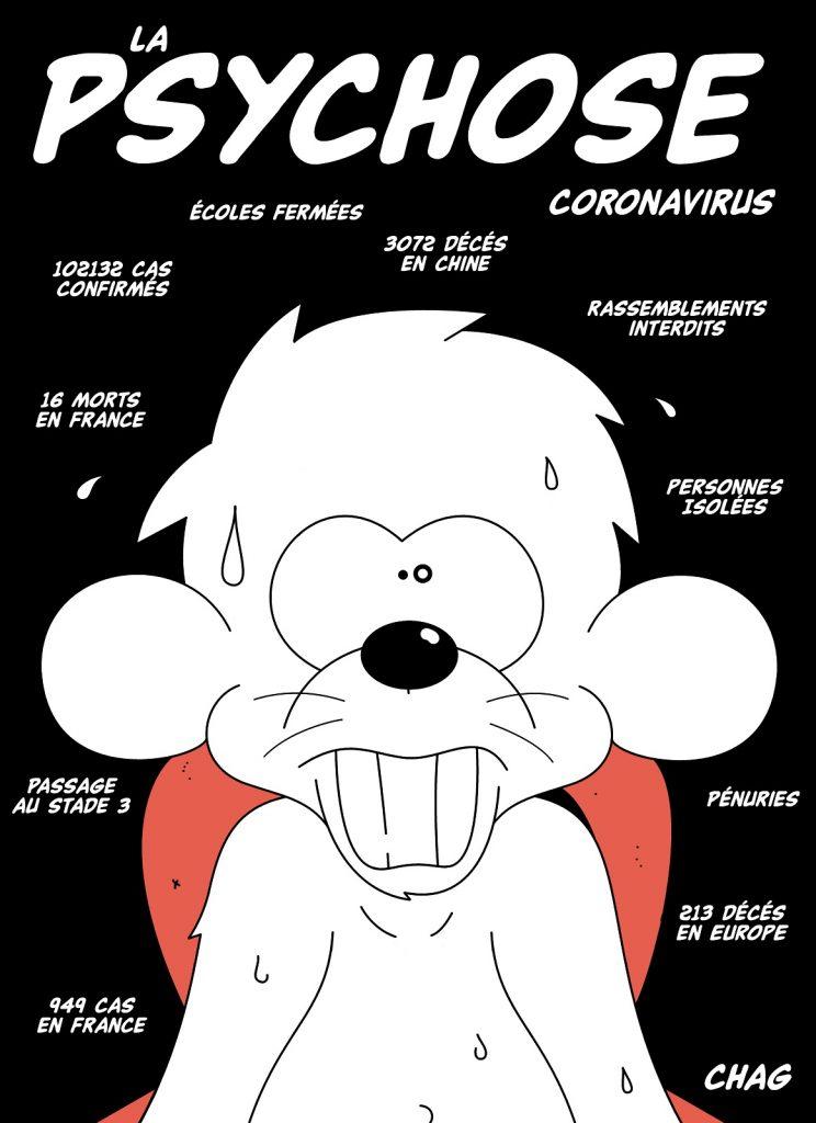 dessin d'humour de Chag sur la psychose générée par l'épidémie de coronavirus Covid-19
