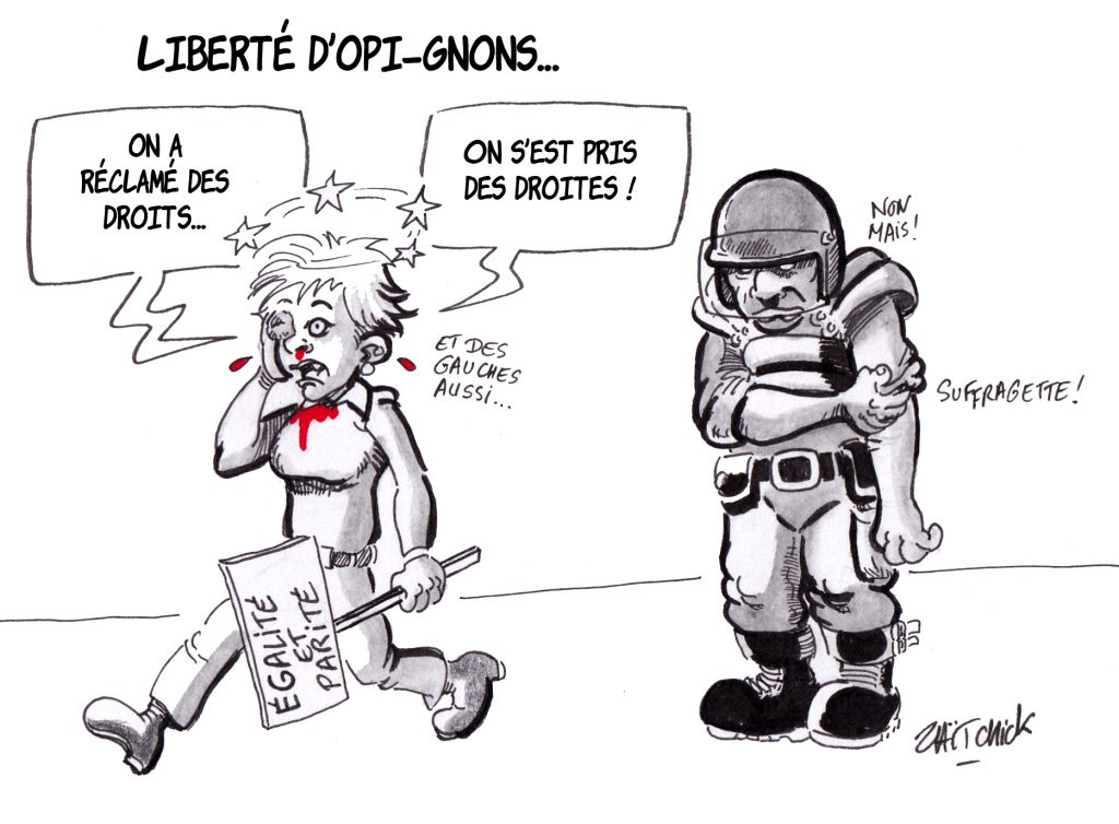 dessin de Zaïtchick sur les violences policières au cours de la journée de la femme