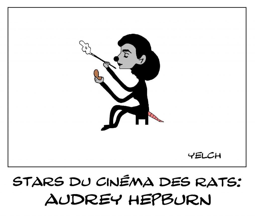 dessin de Yelch sur Audrey Hepburn, star du cinéma