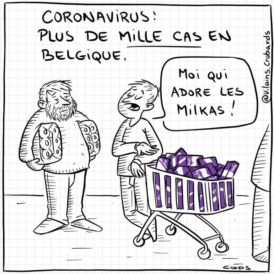 dessin de Cops sur l'épidémie de coronavirus Covid-19 et les mille cas en Belgique