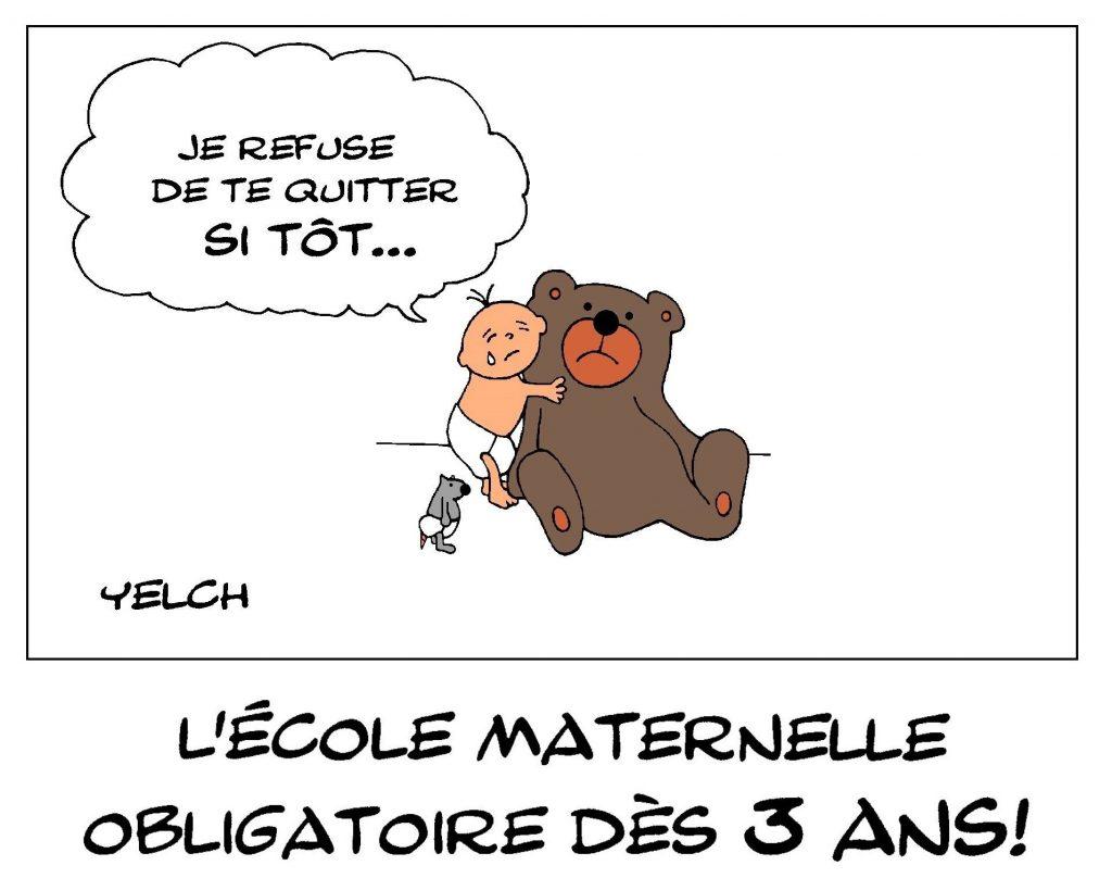 dessin de Yelch sur la maternelle obligatoire dès l'âge de trois ans