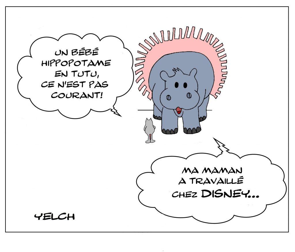 dessin de Yelch sur les hippopotames et Fantasia de Walt Disney