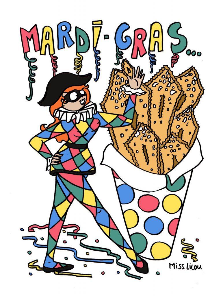 dessin de Miss Lilou sur les bugnes de Carnaval