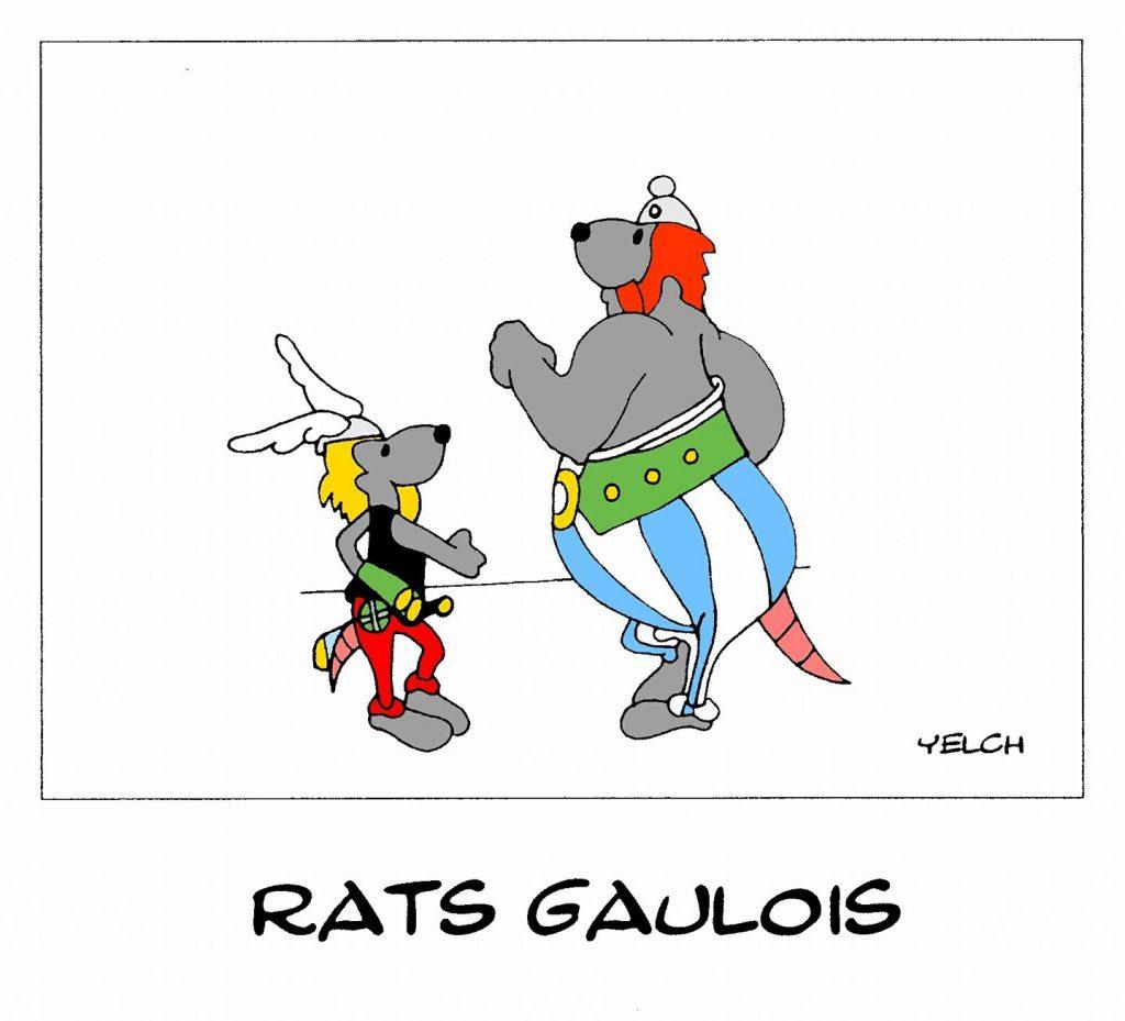 dessin de Yelch sur les gaulois Astérix et Obélix