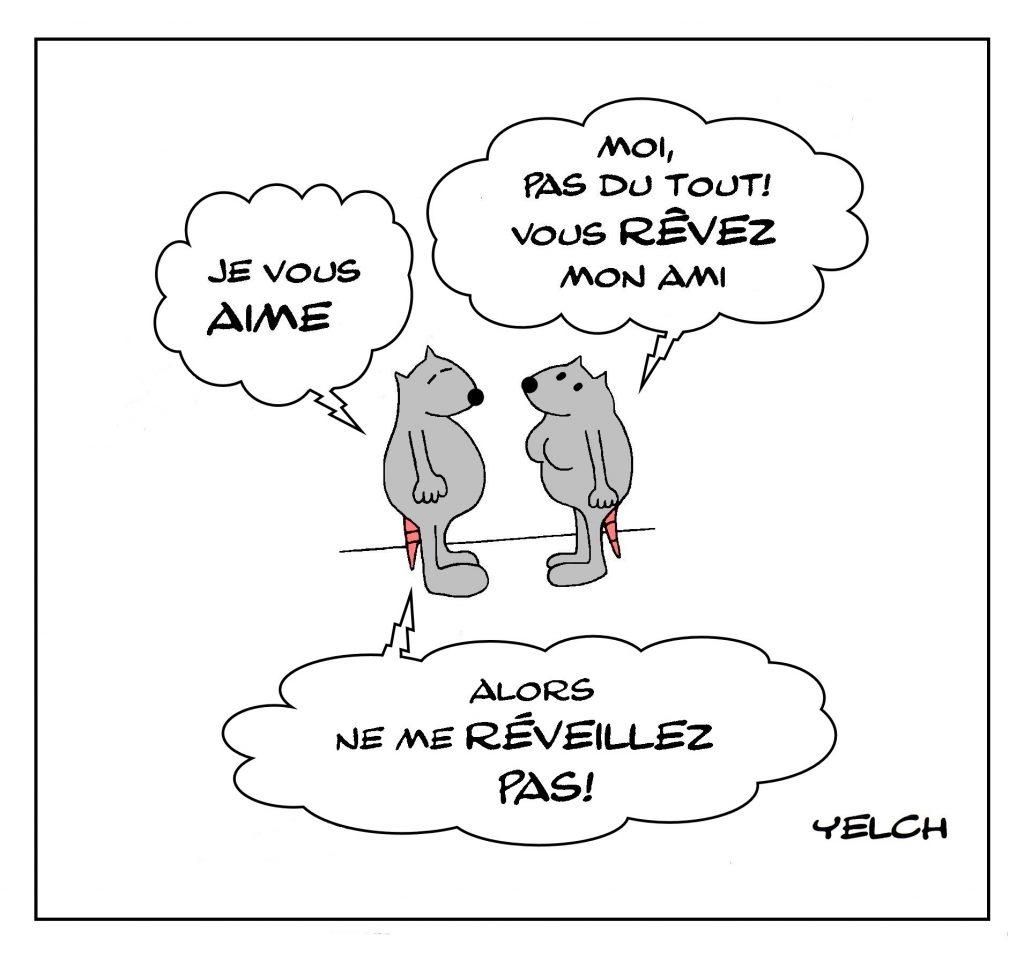 dessin de Yelch sur la réciprocité de l'amour et le rêve d'amour