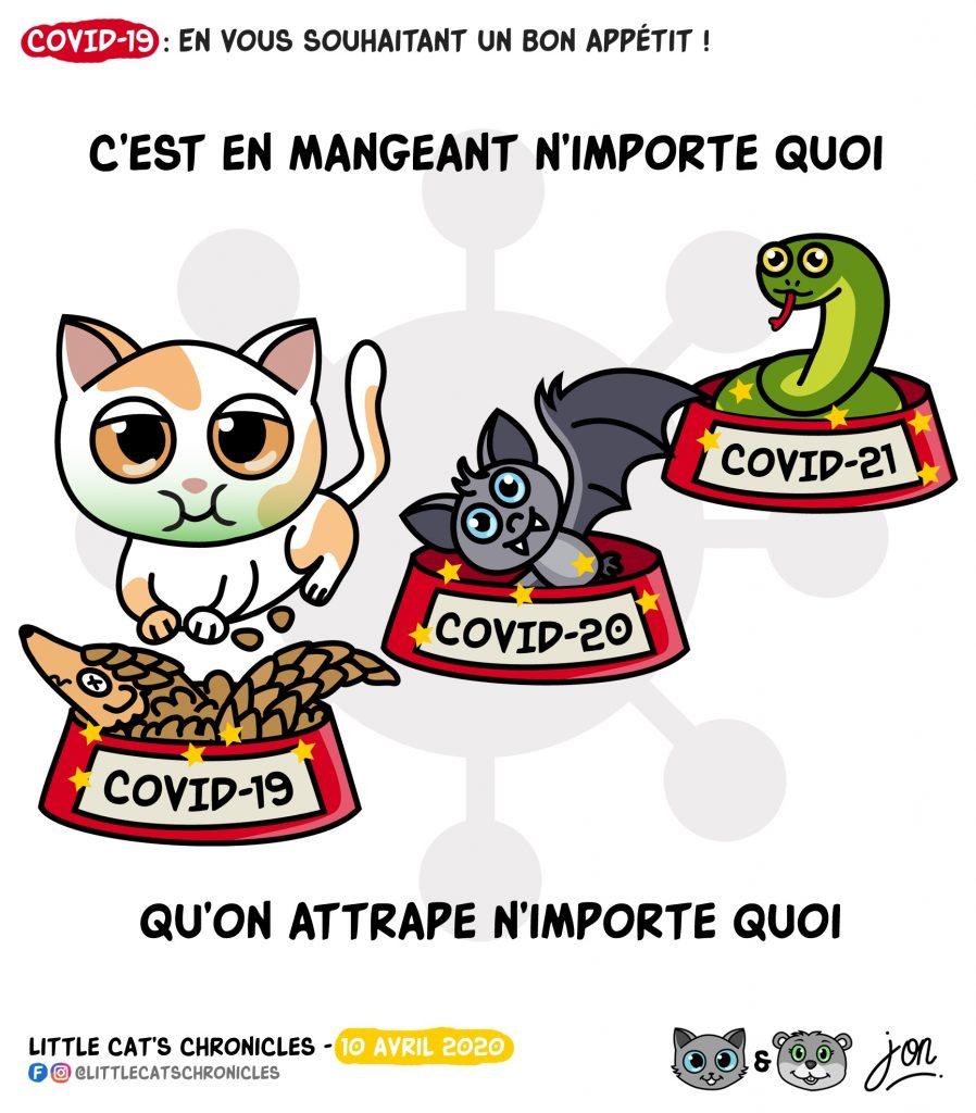 dessin humoristique des Little Cat's Chronicles sur le coronavirus et la nourriture vivante
