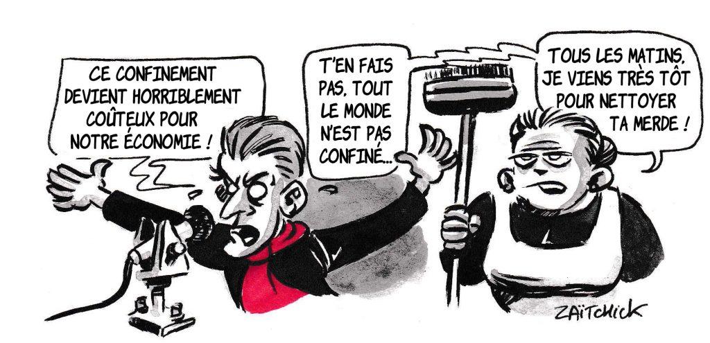 dessin de Zaïtchick sur l'épidémie de coronavirus, le coût du confinement et Christophe Barbier