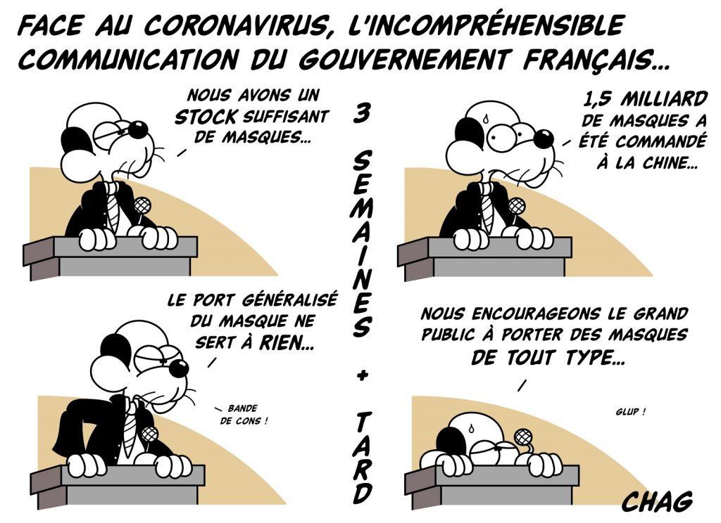 dessin d'humour de Chag sur l'épidémie de coronavirus Covid-19 et la communication du gouvernement français sur les masques de protection