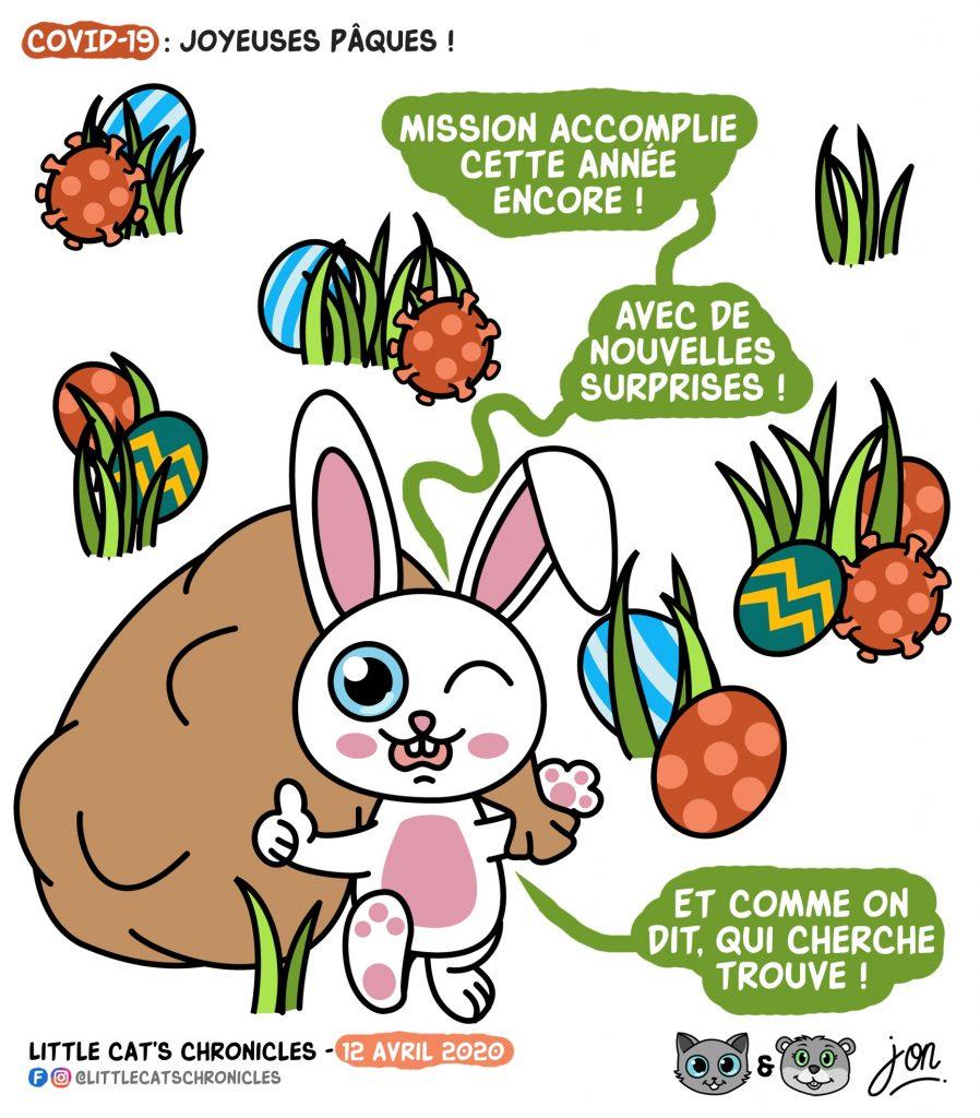 dessin humoristique des Little Cat's Chronicles sur le coronavirus, le Lapin de Pâques et la chasse aux œufs