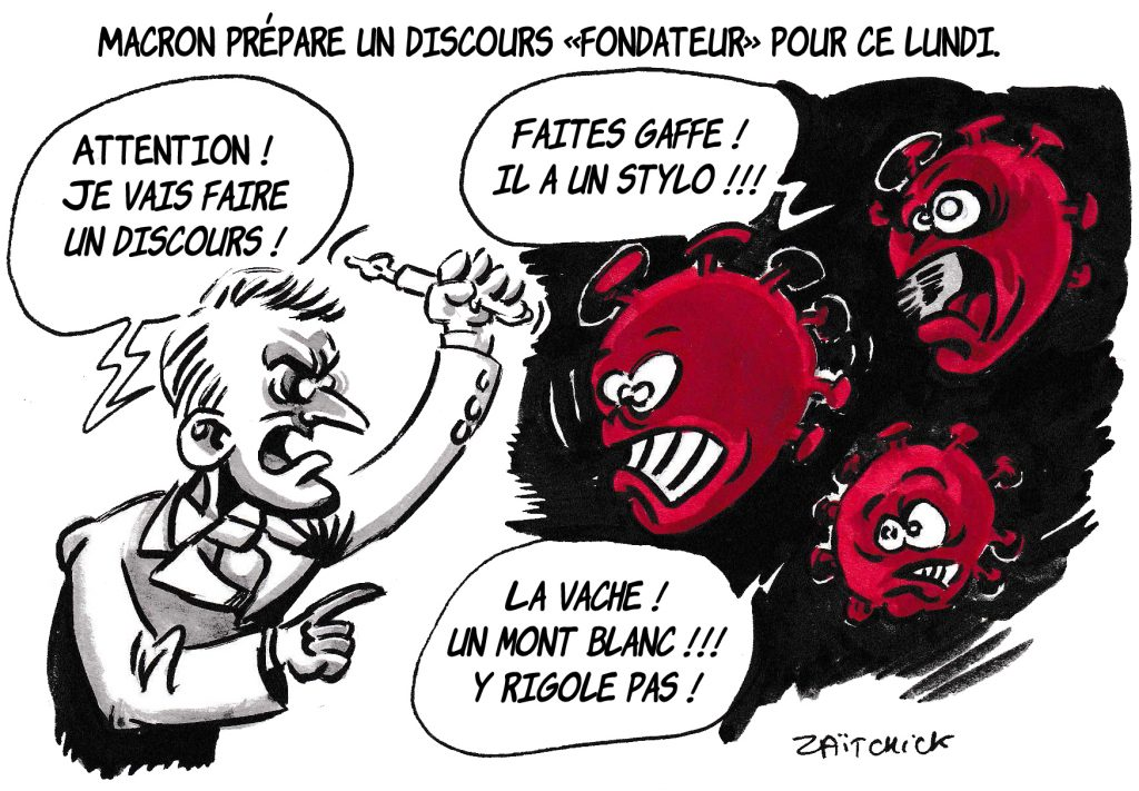 dessin de Zaïtchick sur l'épidémie de coronavirus et le discours du 13 avril d'Emmanuel Macron