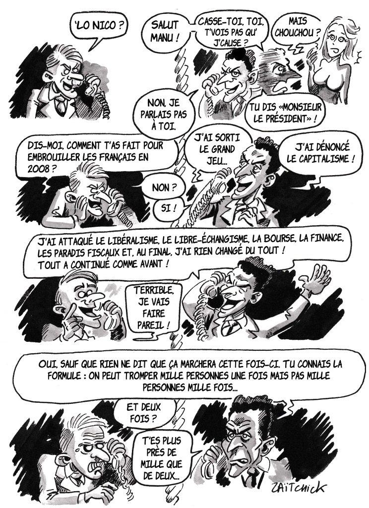 dessin de Zaïtchick sur l'épidémie de Covid-19 et Emmanuel Macron qui prépare son discours de Pâques en téléphonant à Nicolas Sarkozy