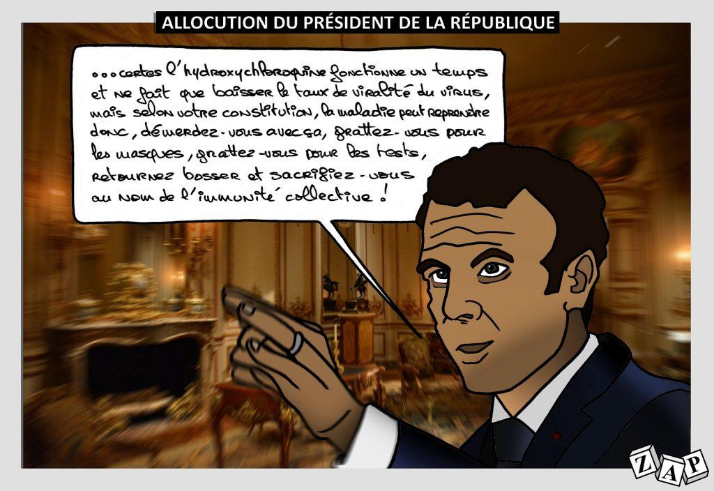 dessin d'actualité de Zap sur l'épidémie du Covid-19 et le discours du 13 avril 2020 d'Emmanuel Macron