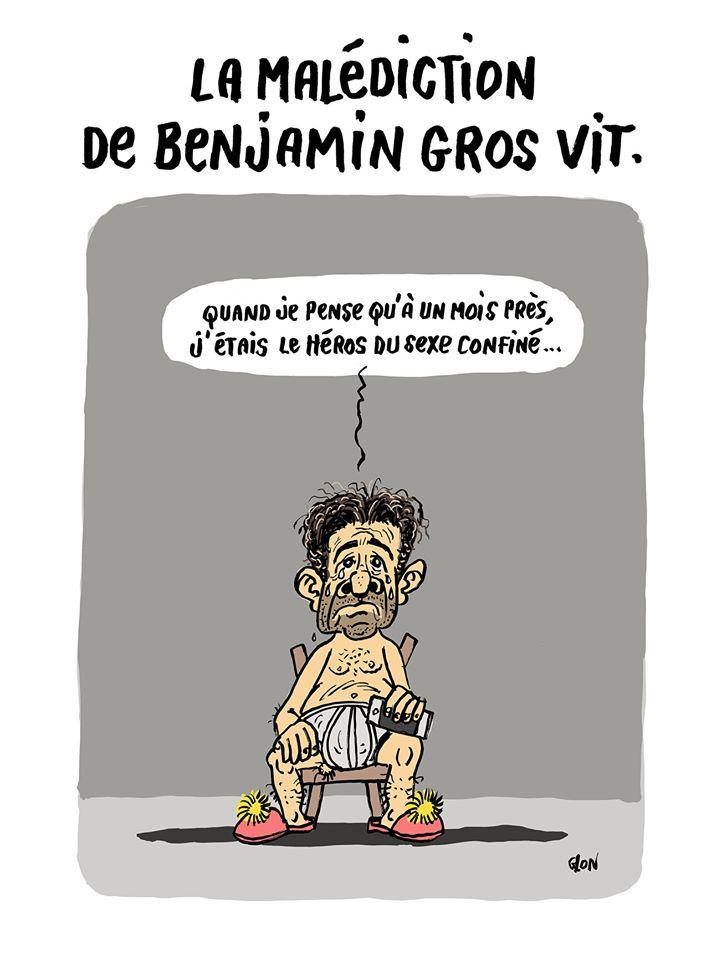 dessin humoristique de Glon sur l'épidémie de Covid-19 et le confinement de Benjamin Griveaux