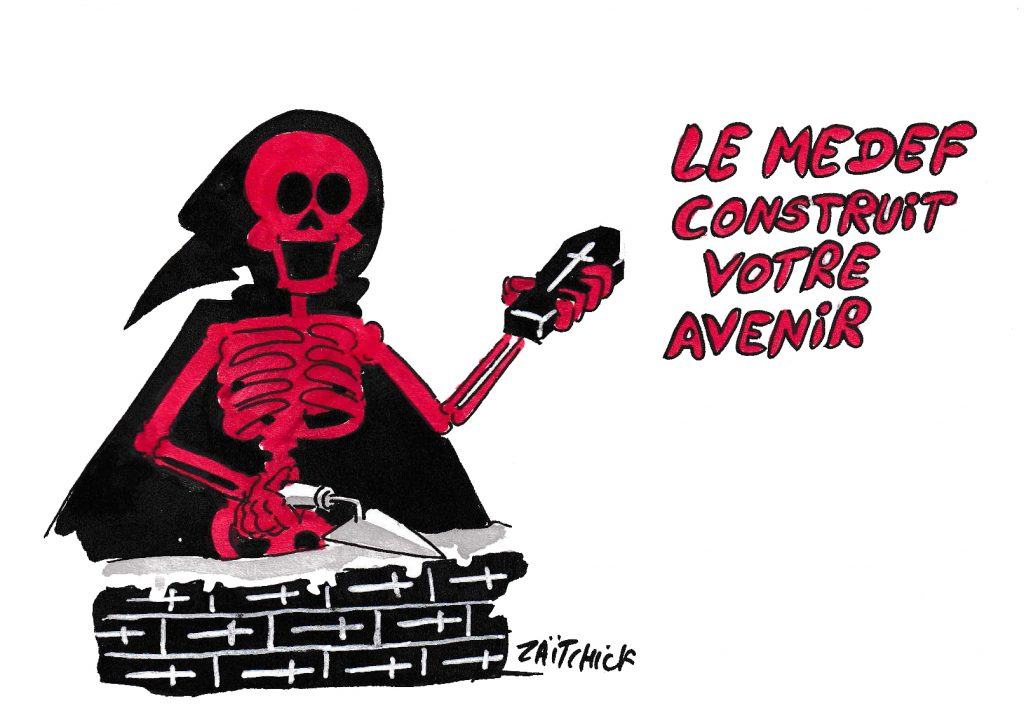 dessin de Zaïtchick sur l'épidémie de coronavirus et l'avenir vue par le Medef
