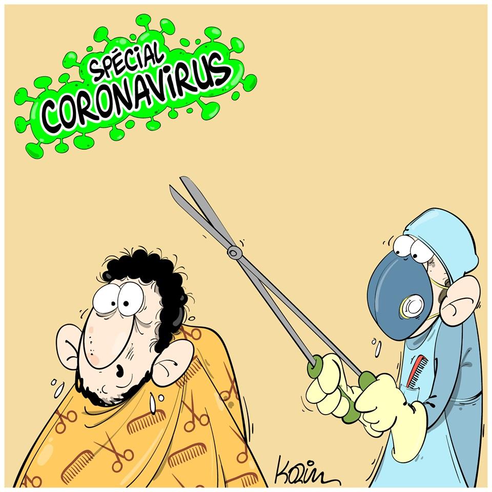 dessin d'actualité humoristique de Karim sur l'épidémie de Covid-19 et les gestes barrières dans la coiffure