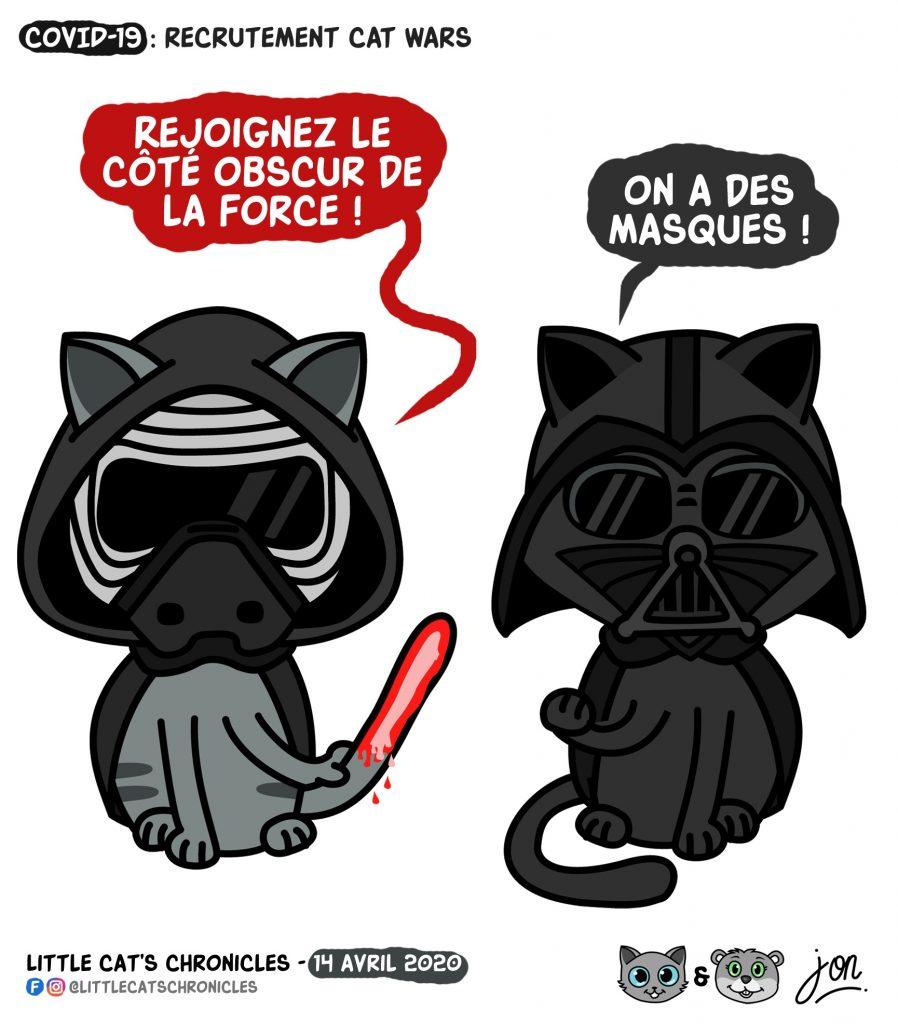 dessin humoristique des Little Cat's Chronicles sur le coronavirus et les masques de Star Wars