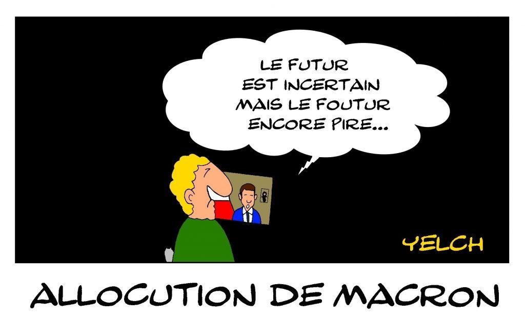 dessin de Yelch sur l'épidémie de Covid-19 et les sous-titres de l'allocution du 13 avril d'Emmanuel Macron