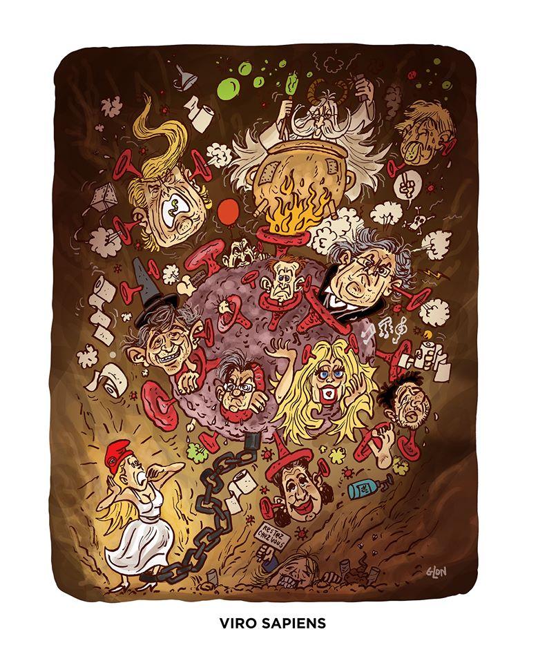 dessin humoristique de Glon sur l'épidémie de Covid-19 et les discours creux