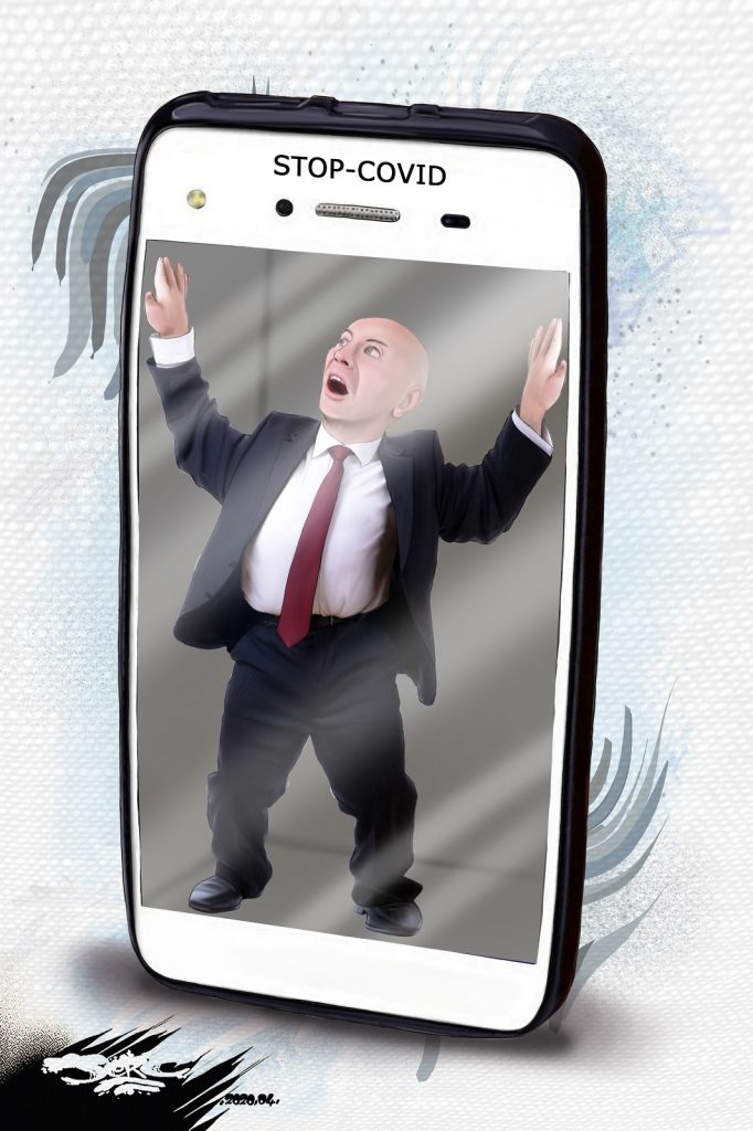 dessin d'actualité humoristique de Jerc sur l'épidémie de Covid-19 et l'application de tracking sur smartphone