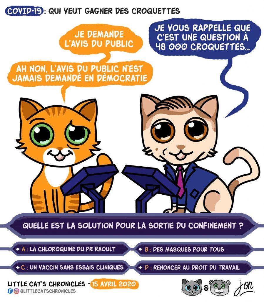dessin humoristique des Little Cat's Chronicles sur l'épidémie de Covid-19, la sortie du confinement et Qui veut gagner des millions